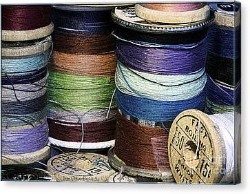 Spools Of Thread Canvas Print by Jean OKeeffe Macro Abundance Art