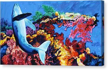 Whale Bubble Dancing Canvas Print by John Lautermilch