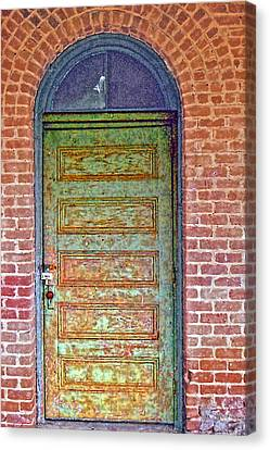 What's Behind The Green Door Canvas Print by Larry Bishop