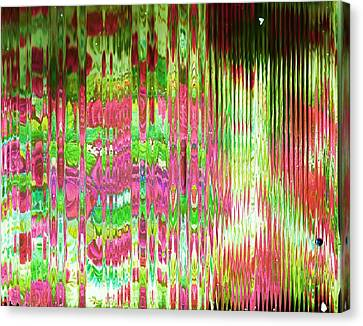 What's Behind The Screen Of Pink And Green  Canvas Print by Anne-Elizabeth Whiteway