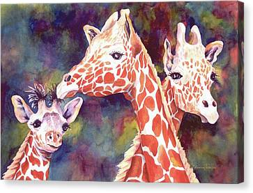 Canvas Print featuring the painting What's Up Dad - Giraffes by Roxanne Tobaison