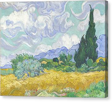 Wheat Field With Cypresses Canvas Print by Georgia Fowler