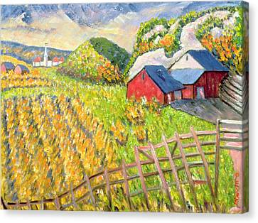 Wheat Harvest Kamouraska Quebec Canvas Print by Patricia Eyre