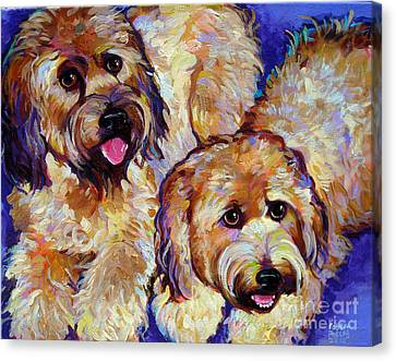Canvas Print featuring the painting Wheaten Terriers by Robert Phelps