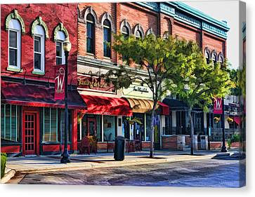 Wheaton Front Street Store Fronts Canvas Print by Christopher Arndt