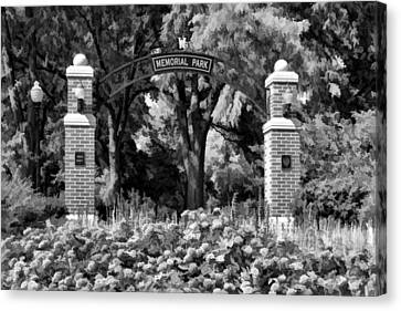 Wheaton Memorial Park Black And White Canvas Print by Christopher Arndt