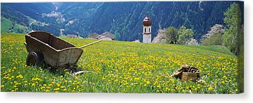 Wheelbarrow In A Field, Austria Canvas Print by Panoramic Images