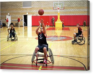 Wheelchair Basketball Canvas Print by Us Air Force/mark Fayloga