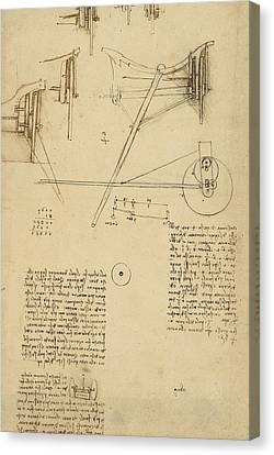 Exploration Canvas Print - Wheels And Pins System Conceived For Making Smooth Motion Of Carts From Atlantic Codex by Leonardo Da Vinci