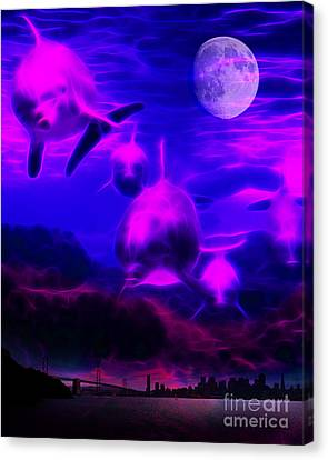 When Dolphins Cry Canvas Print by Wingsdomain Art and Photography
