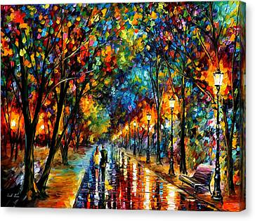 When Dreams Come True - Palette Knlfe Landscape Park Oil Painting On Canvas By Leonid Afremov Canvas Print by Leonid Afremov