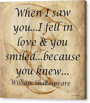When I Saw You Canvas Print