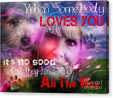 Canvas Print featuring the digital art When Somebody Loves You - 1 by Kathy Tarochione