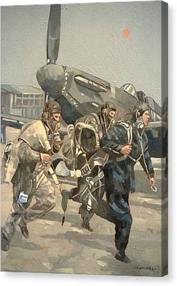 When The Bell Rings Oil On Canvas Canvas Print by Peter Miller