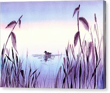 Simple Landscape Canvas Print - When The Sky Melts With Water A Peaceful Pond by Irina Sztukowski