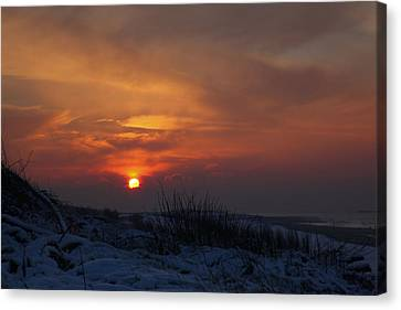 Canvas Print featuring the photograph When The Sun Goes Down  by Annie Snel