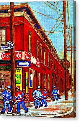 When We Were Young - Hockey Game At Piche's - Montreal Memories Of Goosevillage Canvas Print by Carole Spandau