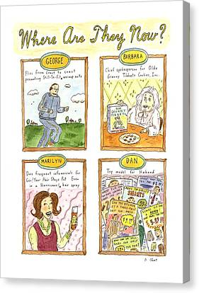 George Bush Canvas Print - Where Are They Now? by Roz Chast