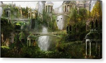 Where Elven Folk Dwell Canvas Print by Mary Hood
