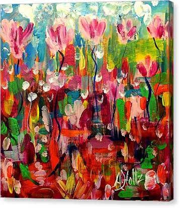 Canvas Print featuring the painting Where Is Spring? by Arlene Holtz