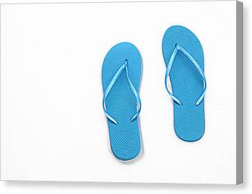 Where On Earth Is Spring - My Blue Flip Flops Are Waiting Canvas Print by Andee Design
