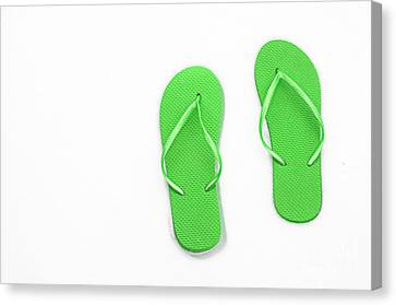 Where On Earth Is Spring - My Green Flip Flops Are Waiting Canvas Print by Andee Design