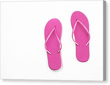 Where On Earth Is Spring - My Hot Pink Flip Flops Are Waiting Canvas Print by Andee Design