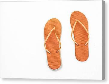 Where On Earth Is Spring - My Orange Flip Flops Are Waiting Canvas Print by Andee Design