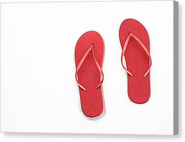 Where On Earth Is Spring - My Red Flip Flops Are Waiting Canvas Print by Andee Design
