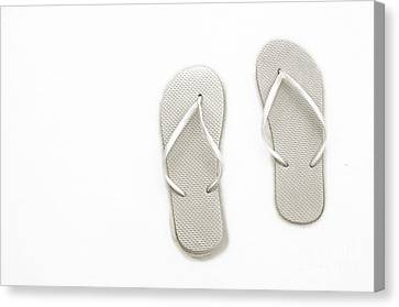 Where On Earth Is Spring - My Silver Flip Flops Are Waiting Canvas Print by Andee Design