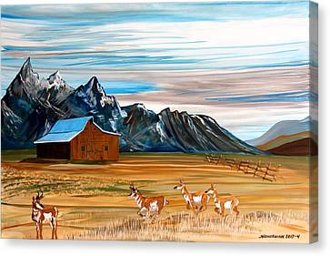 Pronghorn Antelope Canvas Print - Where The Antelope Play by Mike Nahorniak