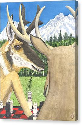 Pronghorn Antelope Canvas Print - Where The Deer And The Antelope Play. by Catherine G McElroy