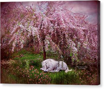 Where Unicorn's Dream Canvas Print by Carol Cavalaris