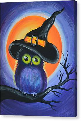 Canvas Print featuring the painting Owl Spook You by Agata Lindquist
