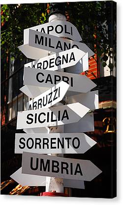 Which Way To Italy Canvas Print by James Kirkikis