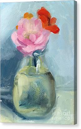 Water Jars Canvas Print - Whidbey Flowers by Jayne Morgan