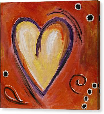 Whimsical  Abstract Art - With All My Heart Canvas Print