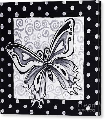 Whimsical Black And White Butterfly Original Painting Decorative Contemporary Art By Madart Studios Canvas Print by Megan Duncanson