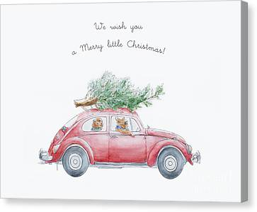 Whimsical Christmas Card Canvas Print by Design Remix