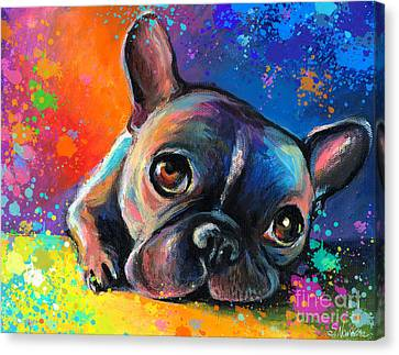 Bulldogs Canvas Print - Whimsical Colorful French Bulldog  by Svetlana Novikova