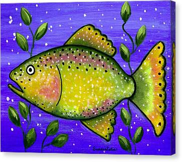 Whimsical Folk Art Fish Canvas Print