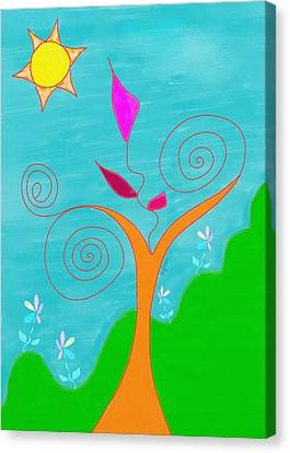 Whimsical Garden - Digital Drawing Canvas Print by Gina Lee Manley