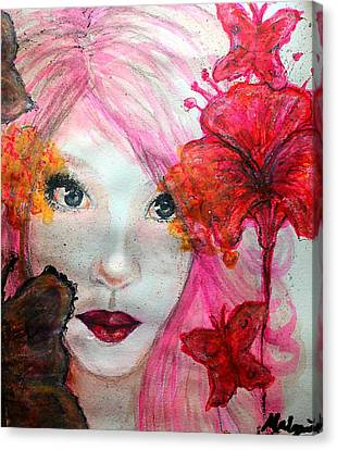 Flower Pink Fairy Child Canvas Print - Whimsical by Mbwidiffu Malgwi