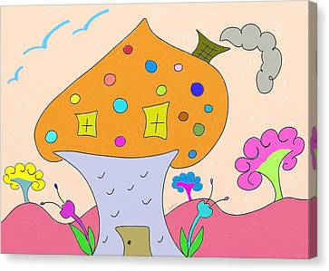 Whimsical Mushroom Tree House  Canvas Print by Gina Lee Manley