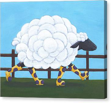 Spring Flowers Canvas Print - Whimsical Sheep Art by Christy Beckwith