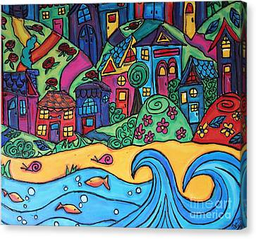 Whimsical Town Sectional  Canvas Print by Cynthia Snyder