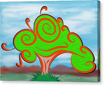 Whimsical Tree On Blurred Landscape Canvas Print by Gina Lee Manley
