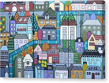 Whimsical Village Canvas Print