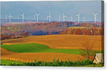 Cornfield Canvas Print - Whimsical Windmills by Sherry Brant
