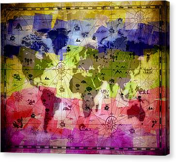 Whimsical World Map 2 Canvas Print by Angelina Vick